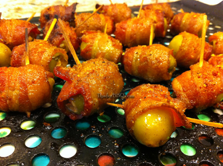 Bacon Wrapped Olives (a.k.a., Greek Poppers)